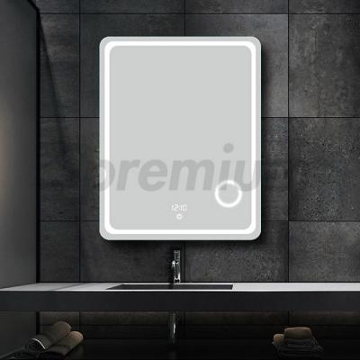 S-3605 Led Bathroom Mirror with Magnifying Glass and Clock