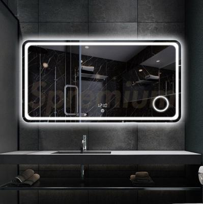 S-3612 Round Edge Large Led Mirror with Magnifier for Bathroom