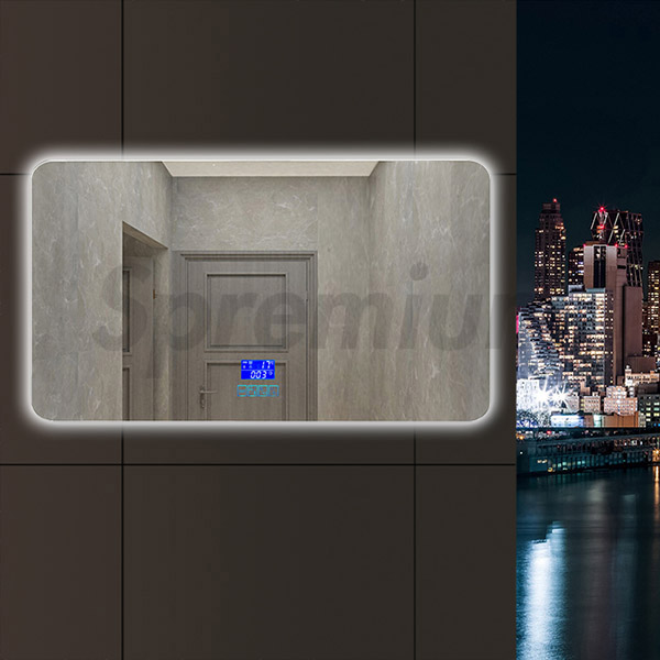 S-2602 Frameless Illuminated Bathroom Mirror with Bluetooth and Anti-Fog Function