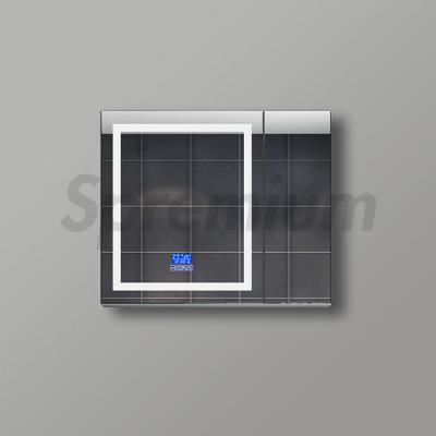 S-1608 Modern Led Bathroom Mirror Cabinet with Mirror Defogger and Digital Clock