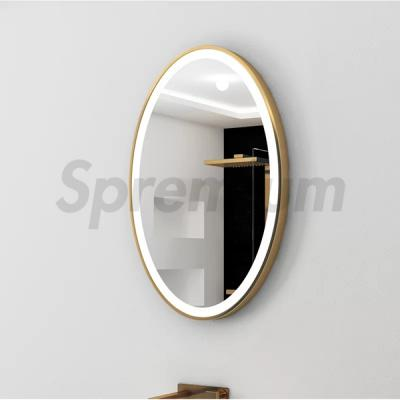 S-4649 Golden Oval Aluminium Frame LED Bathroom Mirror