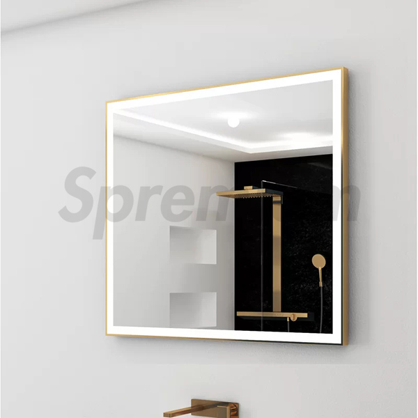 S-4650 Golden Aluminium Framed LED Bathroom Mirror