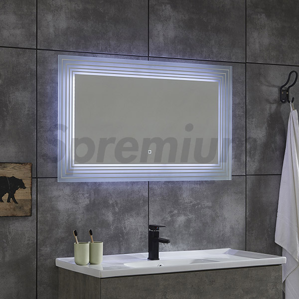 S-4618 Rectangular Bathroom Mirror with LED Lights Around