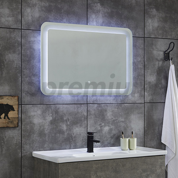 S-4619 Wall Hung Rectangular Bathroom Mirror with Contemporary LED Lights