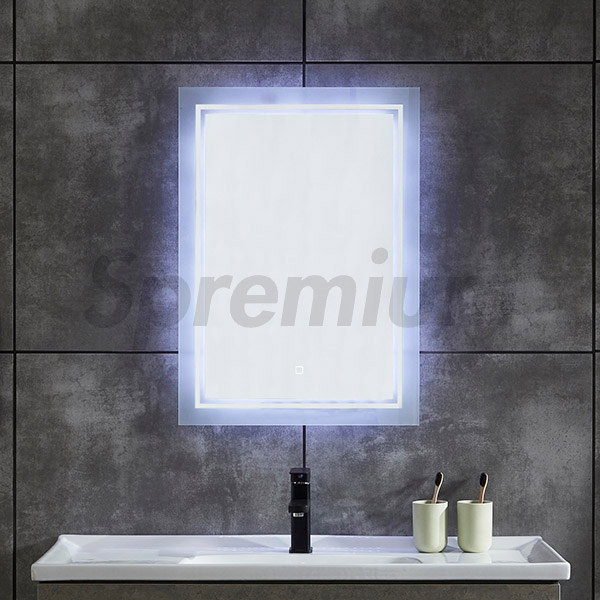 S-4617 LED Bathroom Wall Mirror with Two Frosted Circle Lights