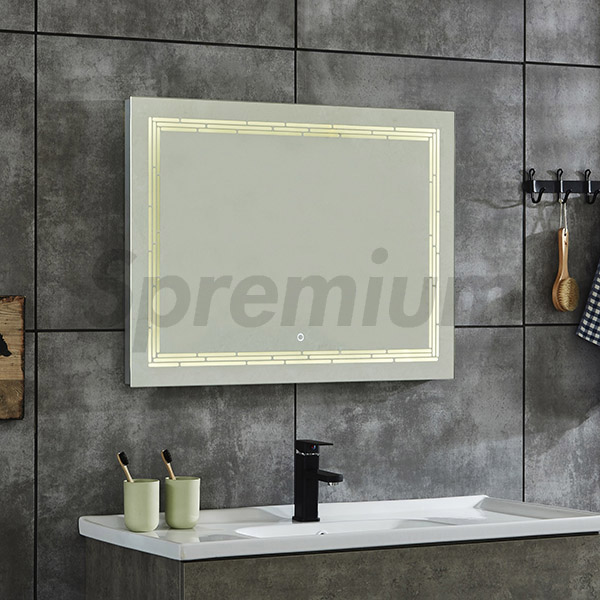 S-4620 5mm Thickness Bathroom LED Light Up Mirror with Touch Button