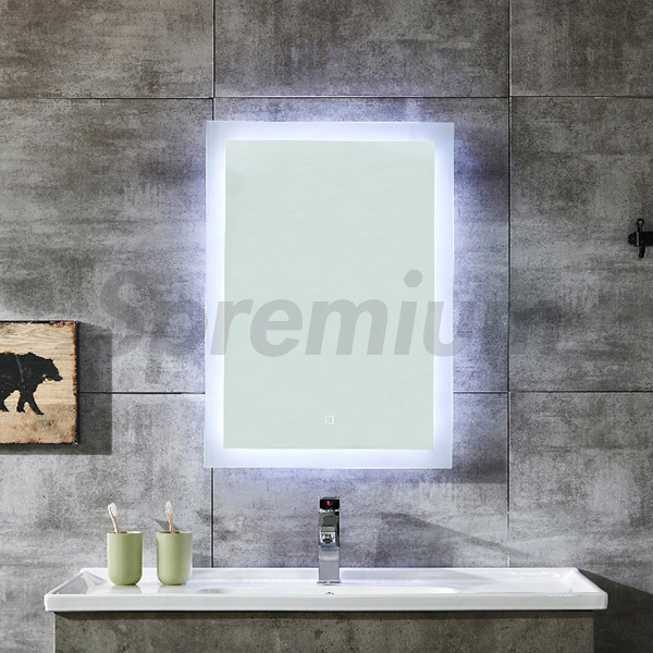 S-4621 LED Bathroom Wall Mirror Rectangular Backlit Mirror with Touch Button
