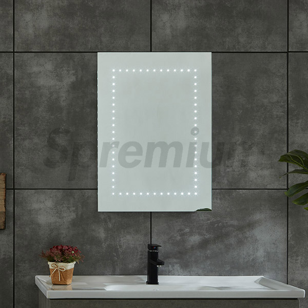 S-4626 Modern Rectangular LED Bulb Mirror with Sensor Switch and Shaver Socket