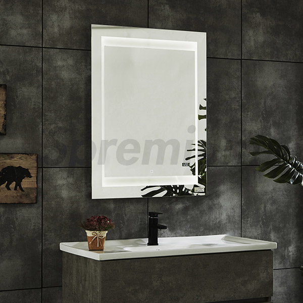 S-4628 Modern Rectangular LED Bathroom Mirror with Clock