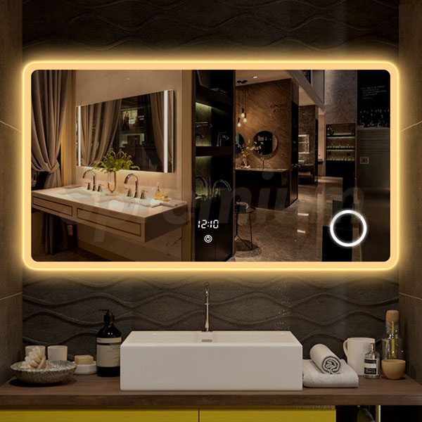 S-3609 Frameless Large Led Bathroom Mirror with Lights and Magnifier