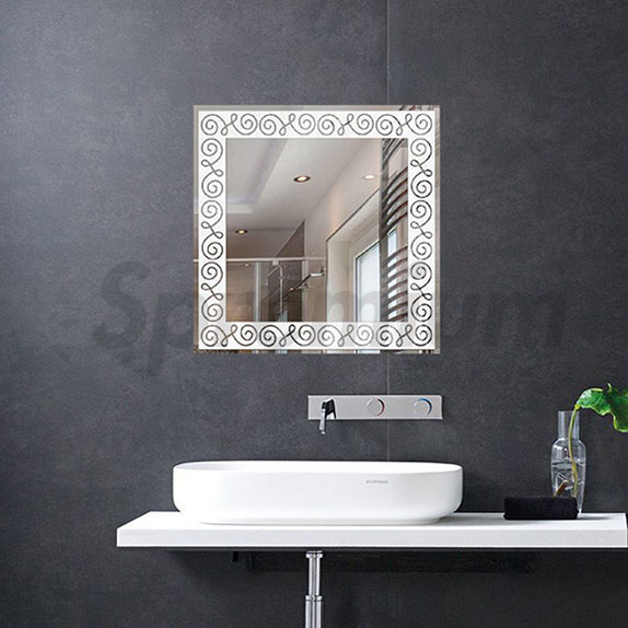 S-4586 Square LED Backlit Bathroom Wall Mirror