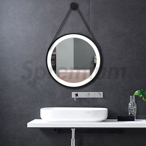 S-4587 Touch Free Sensor Round LED Bathroom Mirror with Lights Around It